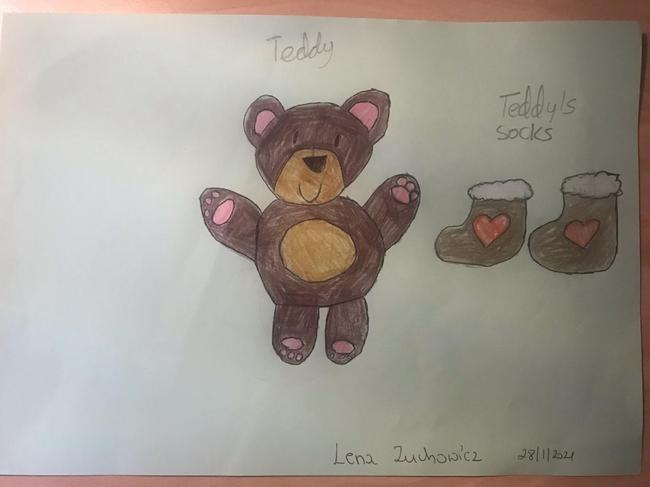 Exploring the number 2 - Lena Z's drawing of a bear and '2' socks.