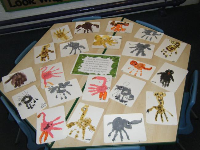 Look at our animal handprints!