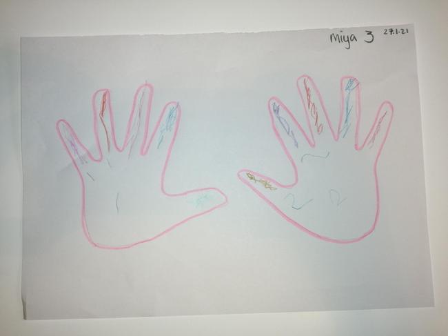 Miya's rainbow hands - counting to 2.