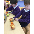 """Making """"healthy"""" patterns with fruits and vegetables."""