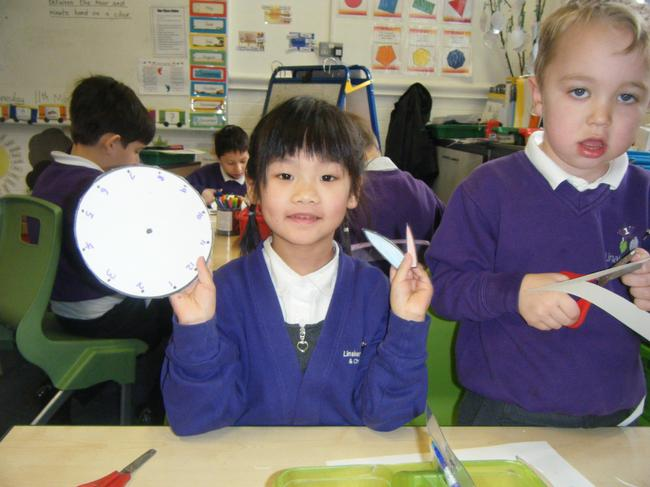 We used split pins to attach the hands to clocks.