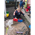 We had fun mixing 'cement'.