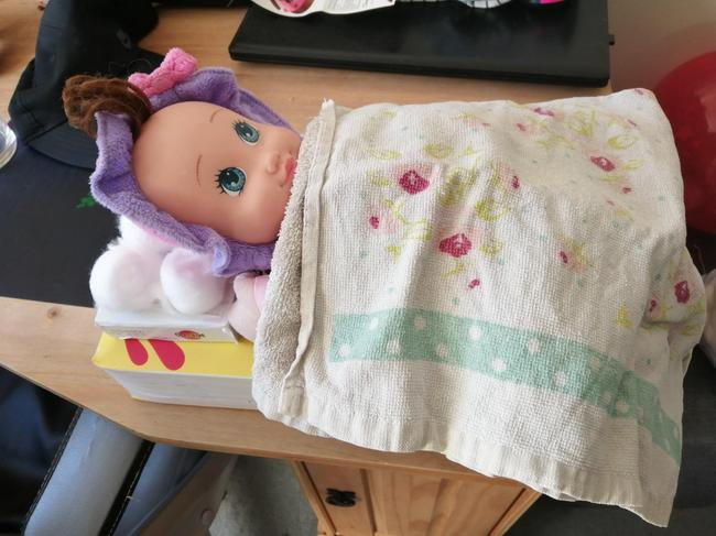 Miya decided her dolly was diurnal, so put her to sleep at nighttime.
