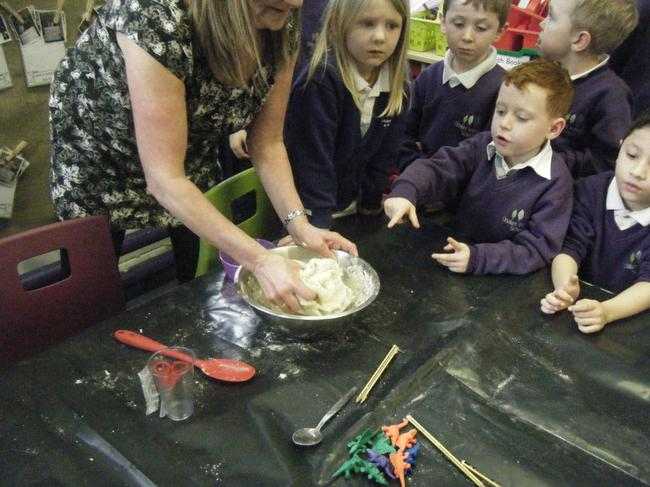 We all got a lump of dough to make a fossil with.