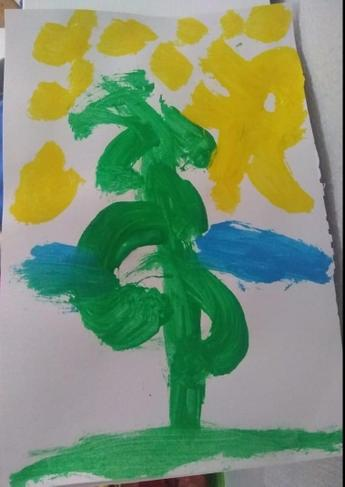 We read Jack and The Beanstalk. Here is a lovely Beanstalk painted by Isaac.