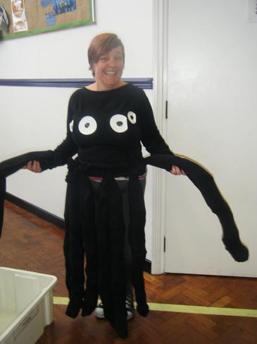 Mrs Warren acting as the spider!