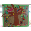 And in Spring we created this tree complete with leaves and all sort of bugs and flowers