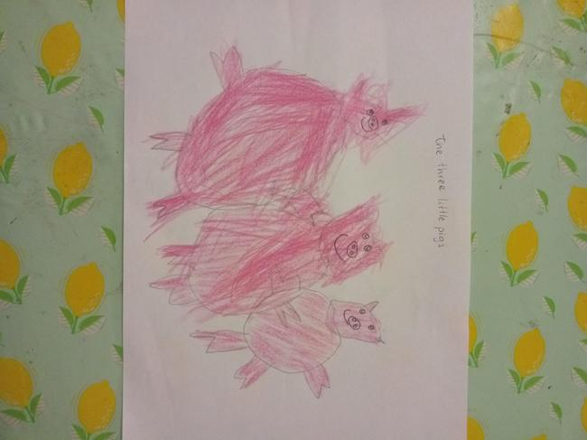 Sofia's drawing of the Three Little Pigs.
