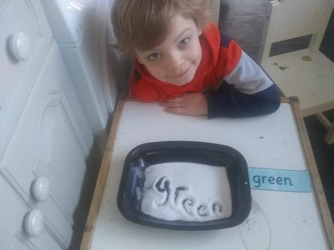 Writing green words in salt