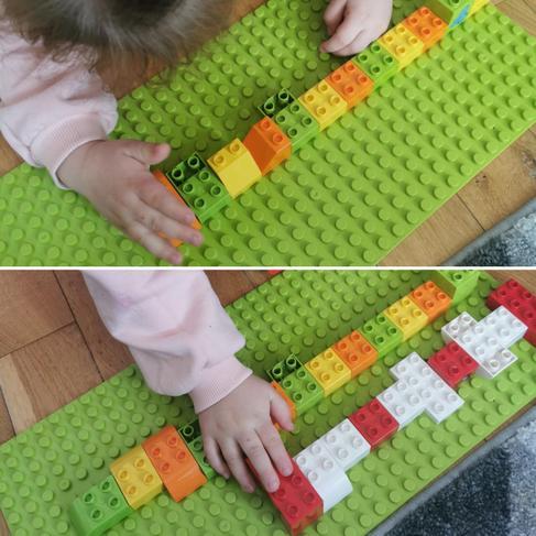 Lena making repeating patterns.