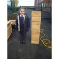 We used blocks to measure.
