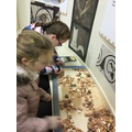 Lily-Grace and Lucy making mosaics.
