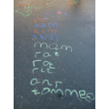 We can write words using chalk,