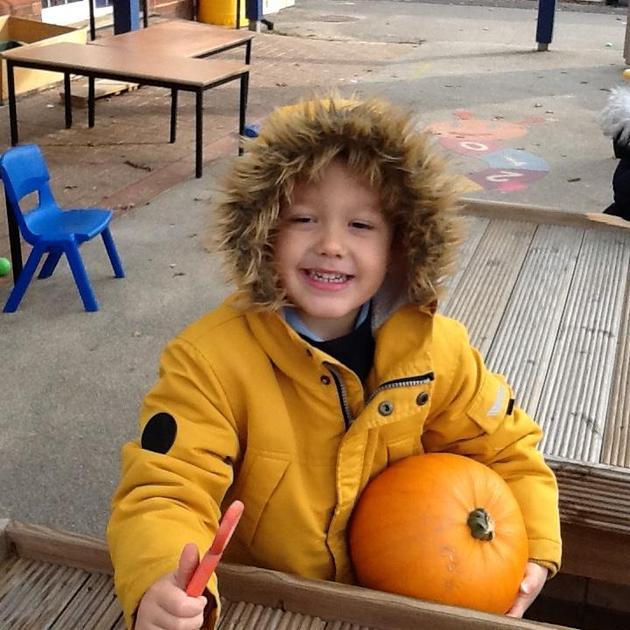 Finding pumpkins!