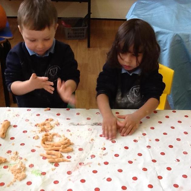 Making playdough shapes.
