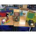 Houses made at school by Oliver G, Jessica, Rowan, Oliver T and Amber.