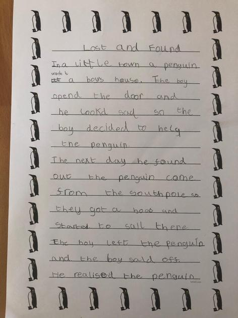Page 1 of Jack's fantastic story.