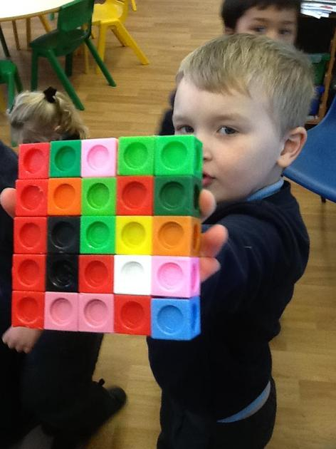 We investigated how many cubes we needed to build a square.....