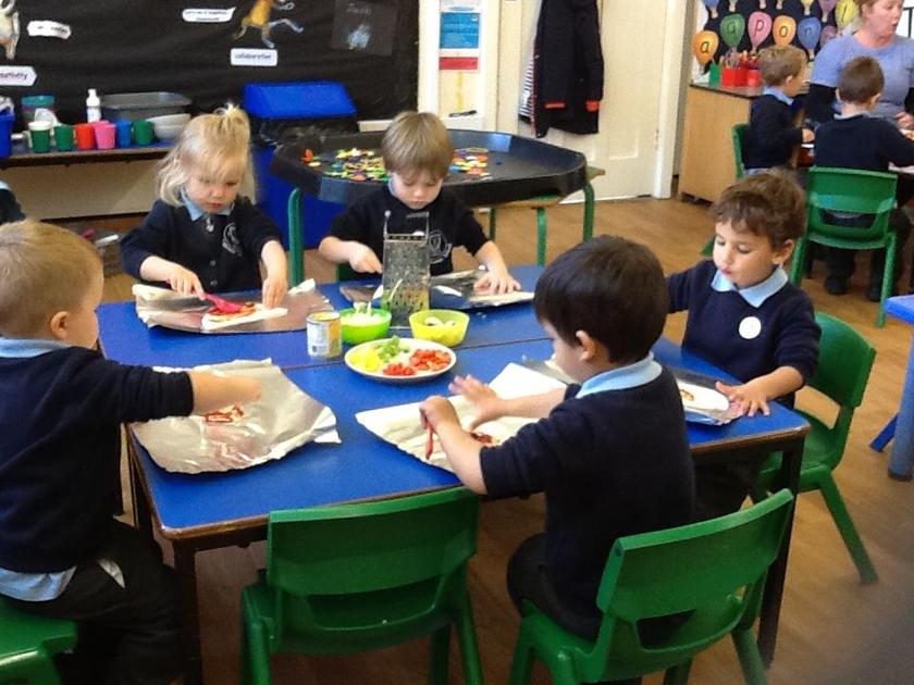 Creating our own pizzas.