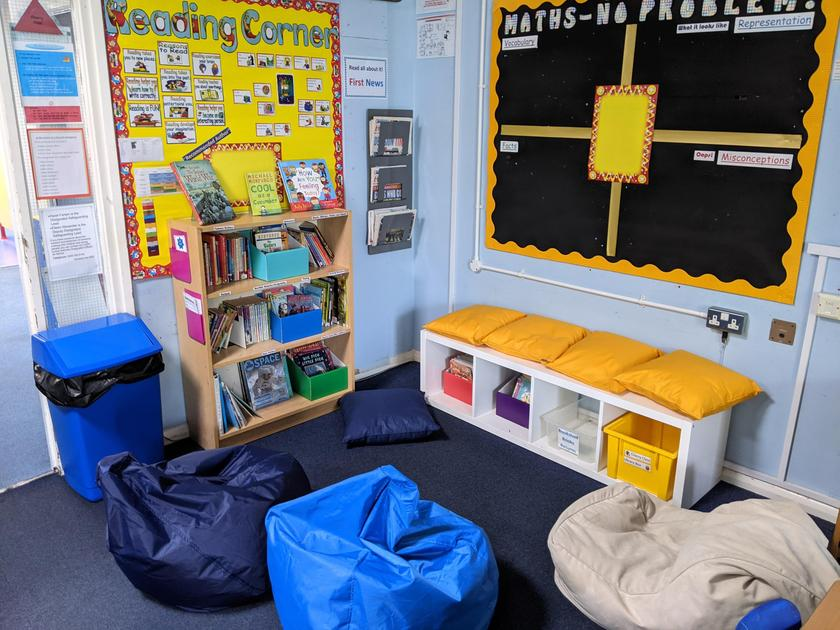 Our reading corner comes with two Cherry Class librarians.