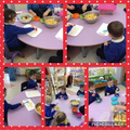 Panda Cubs have been super busy today making their own fruit salad.
