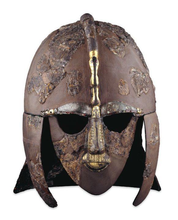 Helmet found at Sutton Hoo burial ship.