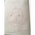 Daniyal has drawn a self portrait.