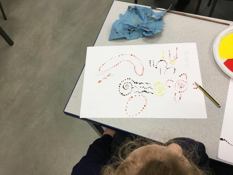 Celebrating Black History Month by creating our own traditional Aboriginal dot paintings