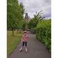 Katherine has learnt a new skill- she can now rollerblade!