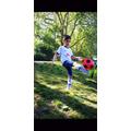 Major has been practicing his football skills.