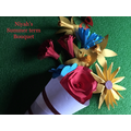 Niyah has made a lovely bouquet of flowers.