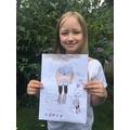 Bea very carefully designed an amazing backpack.
