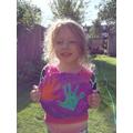 Amelia had fun making salt dough and hand printing