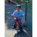 Mahdi has enjoyed riding the trikes.