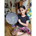 Sanaya has been using her homemade clock daily.