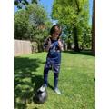 Dimitar has been practising his football skills.