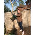 Mrs Stroudley has been watering her hanging basket