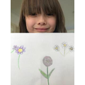 Ivy has drawn some flowers from her garden.