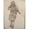 Noah has drawn an amazing soldier with tone.