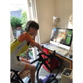 Ted has been keeping fit on his exercise bike.