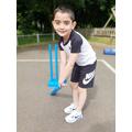 Ryan has been practising his cricket.
