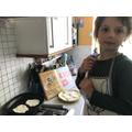 Rudi made flatbreads with garlic butter. Yummy!