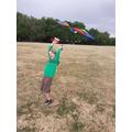 Younes had fun flying his kite.