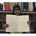Sumaya punctuated 4 different sentence type correctly and presented her work beauifully.