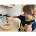 Dante has made chocolate chip banana bread.