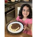 Amaira has made delicious banana nutella pancakes.