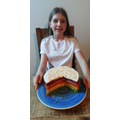 Annabel has made an amazing rainbow cake!