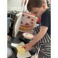 Frankie measured ingredients ready for baking.