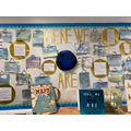 Oak Class display for our return to school class text, Here We Are by Oliver Jeffers