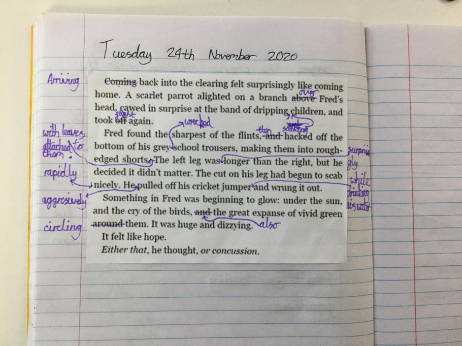 English- Editing class text